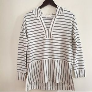 Mello Day stripped hooded pullover sweatshirt